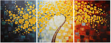 decor gold happy tree group canvas art wall landscape painting