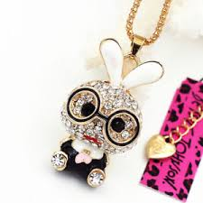 crystal necklace ebay images Cute glasses rabbit bunny crystal pendant sweater chain betsey jpg