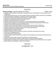 Management Resume Examples by Operations Manager Resume Sample Velvet Jobs