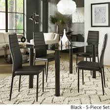 glass dining room table and chairs glass kitchen dining room sets for less overstock com