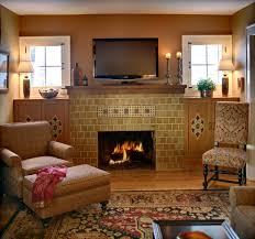 craftsman fireplace design with tv above fireplace living room