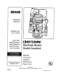 sears router 315 17473 user guide manualsonline com