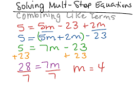 solving multi step equations combining like terms math