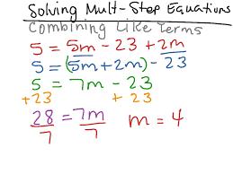 solving multi step equations combining like terms math algebra solving equations high school a rei 3 showme