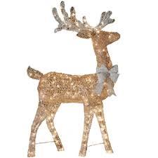 living 4 ft lighted reindeer freestanding sculpture