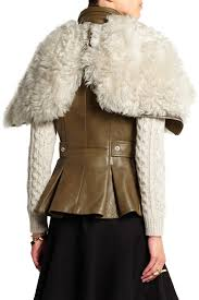 leather biker vest shearling and leather biker vest alexander mcqueen us the outnet
