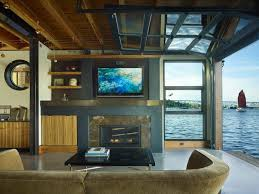 Glass Overhead Garage Doors Living Room With Views To Lake Union Glass Overhead Door Opened