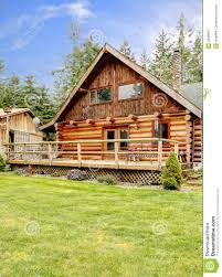 small cabin rustic log small cabin deck exterior royalty free stock