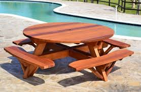 Free Woodworking Plans For Picnic Table by Round Wooden Picnic Table With Attached Benches