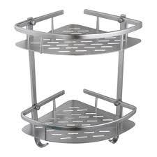 kes bathroom aluminum storage shelf basket with hooks wall mounted