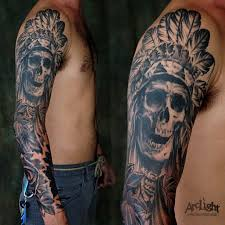amazing sleeve indian skull design for cool