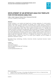 development of an interface analysis template for system design