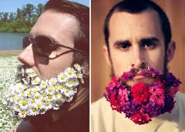 flower hair trend men with flowers in their beards