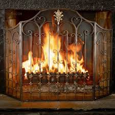 firepalce aves 3 panel glass fireplace screen copper foiled