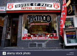 the entrance to the house of pain tattoo parlour in frankfurt