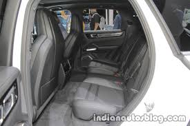 2018 porsche cayenne turbo rear seat at iaa 2017 indian autos blog