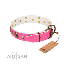 Comfortable Dog Collars Miss Pinky Fluff Fdt Artisan Pink Leather Rottweiler Collar