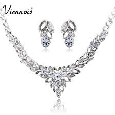 prom accessories viennois earrings necklace silver rhinestone for women