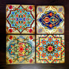 hamsa hand moroccan wall art set block set 8x8 set of 4 home