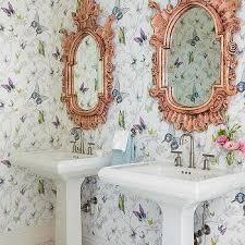 kids bathroom butterfly wallpaper design ideas