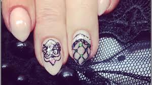 gel nails design lace art geliniu nagu daile youtube