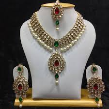 wedding necklace set red images Buy dazzling kundan set in red and green stones and pearls online jpg