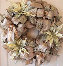 ivory and champagne gold glitter poinsettia christmas wreath