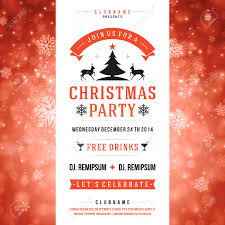 christmas party invitation retro typography and ornament