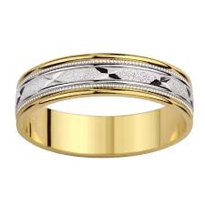mens two tone gold wedding bands 14k two tone gold s milligrain x design wedding band free
