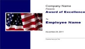 excellence award with us flag and sky template