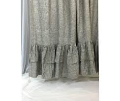 Gray Fabric Shower Curtain Chambray Grey Shower Curtain With Double Layer Ruffle Hem 72x72