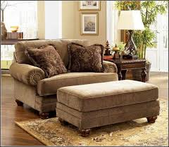 Accent Chairs And Ottomans Traditional Style Living Room Area With Brown Suede Oversized