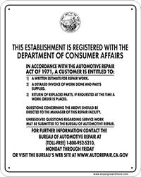 bureau of consumer affairs bureau of auto repair sign b a r sign from stopsignsandmore com