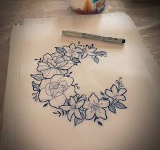 flower crest moon tatto ideas moon flower and