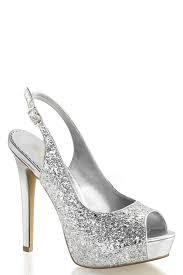 silver peep toe sling back pump heels glitter