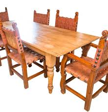 antique spanish colonial style pine dining table with six chairs
