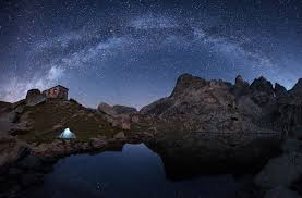nature lake reflections wallpapers nature night stars milky way landscape mountain rock house