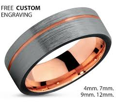 7mm ring black tungsten ring gold wedding band ring tungsten carbide