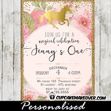 unicorn party invitations printable pink gold floral first