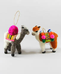 set of 2 felted llama ornaments board