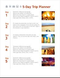 trip planner templates 5 day trip planner office templates