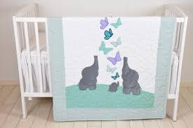mint baby blanket teal purple gray crib bedding elephant quilt