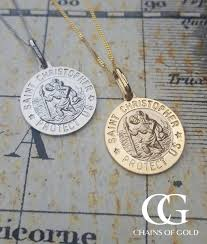 pendant necklace white gold images Personalised 9ct gold st christopher pendant necklace white or yellow jpg