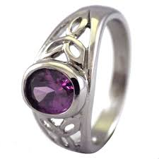 celtic rings meaning womens celtic triquetra ring amethyst purple cz