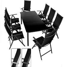 chaises pliables salon de jardin 8 chaises pliables 1 table avec plateau en verre