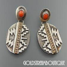 20 s earrings american rew dineh navajo sterling silver 1 20 12k gf coral
