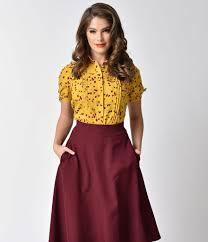 vintage blouse unique vintage mustard yellow floral button up colvin blouse