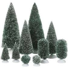 dept 56 christmas village bag o frosted topiaries small trees