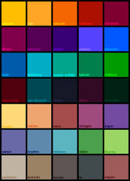 list of colours list of all color actions names creators and download links