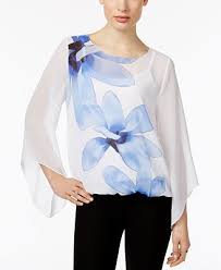 alfani blouses alfani printed sleeve top created for macy s